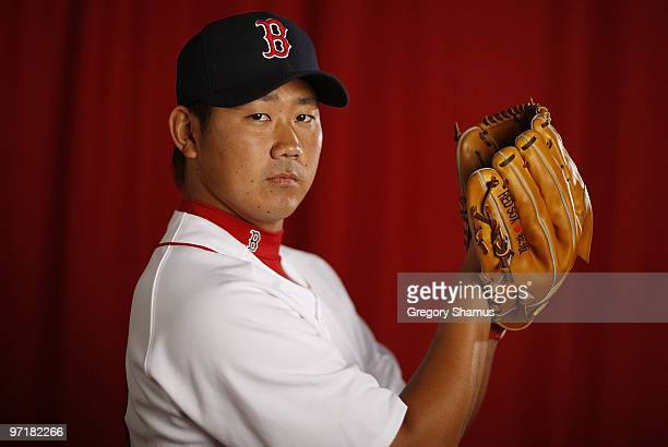 Daisuke Matsuzaka of the Boston Red Sox poses during photo day at the Boston Red Sox Spring Training practice facility on February 28 2010 in Ft...