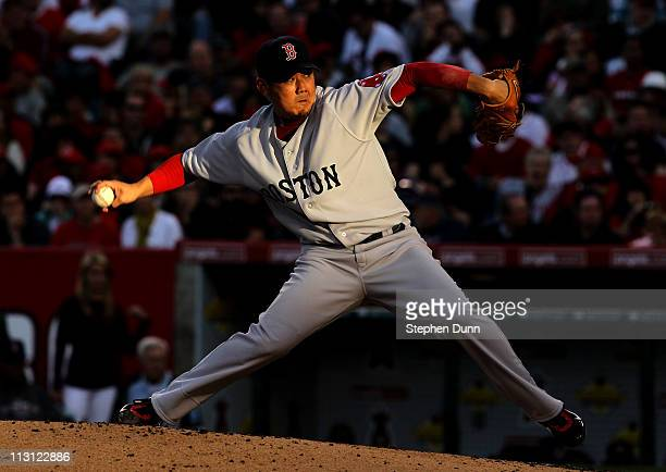 Daisuke Matsuzaka of the Boston Red Sox throws a pitch against the Los Angeles Angels of Anaheim on April 23 2011 at Angel Stadium in Anaheim...