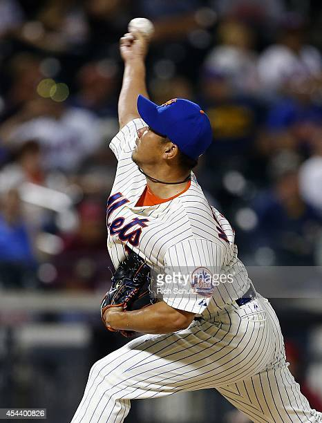 Daisuke Matsuzaka of the New York Mets delivers a pitch against the Philadelphia Phillies during the eighth inning on August 30 2014 at Citi Field in...