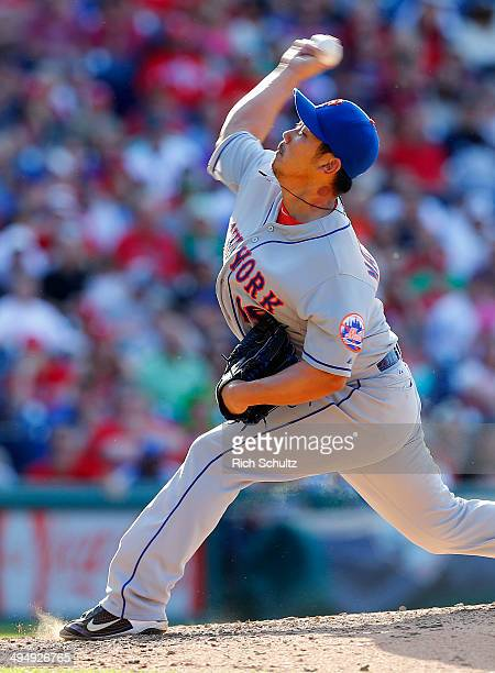 Daisuke Matsuzaka of the New York Mets delivers a pitch against the Philadelphia Phillies during the eighth inning in a game at Citizens Bank Park on...