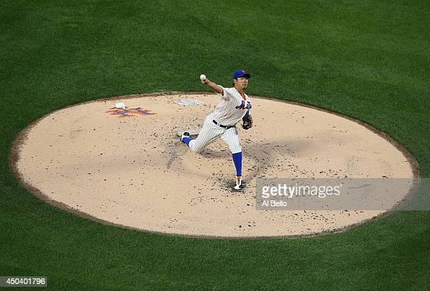 Daisuke Matsuzaka of the New York Mets pitches against the Milwaukee Brewers during their game on June 10 2014 at Citi Field in the Flushing...