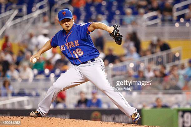Daisuke Matsuzaka of the New York Mets pitches during the first inning of the game against the Miami Marlins at Marlins Park on June 20 2014 in Miami...