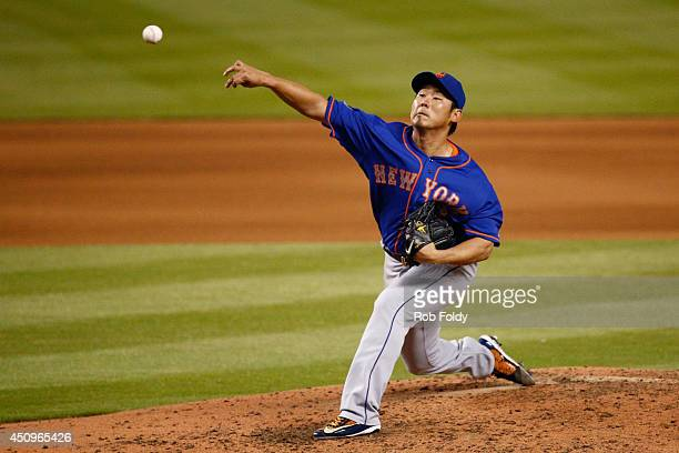 Daisuke Matsuzaka of the New York Mets pitches during the fourth inning of the game against the Miami Marlins at Marlins Park on June 20 2014 in...