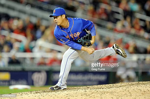 Daisuke Matsuzaka of the New York Mets pitches in the eighth inning against the Washington Nationals at Nationals Park on September 23 2014 in...