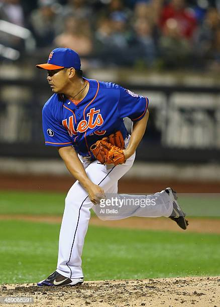 Daisuke Matsuzaka of the New York Mets pitches in the fifth inning against the Philadelphia Phillies during their game on May 9, 2014 at Citi Field...