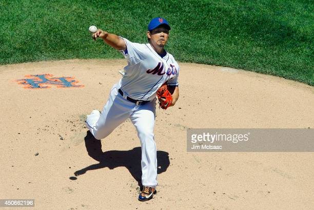 Daisuke Matsuzaka of the New York Mets pitches in the first inning against the San Diego Padres at Citi Field on June 15 2014 in the Flushing...