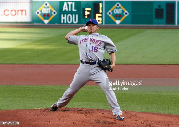 Daisuke Matsuzaka of the New York Mets pitches in the first inning against the Pittsburgh Pirates during the game at PNC Park on June 26 2014 in...