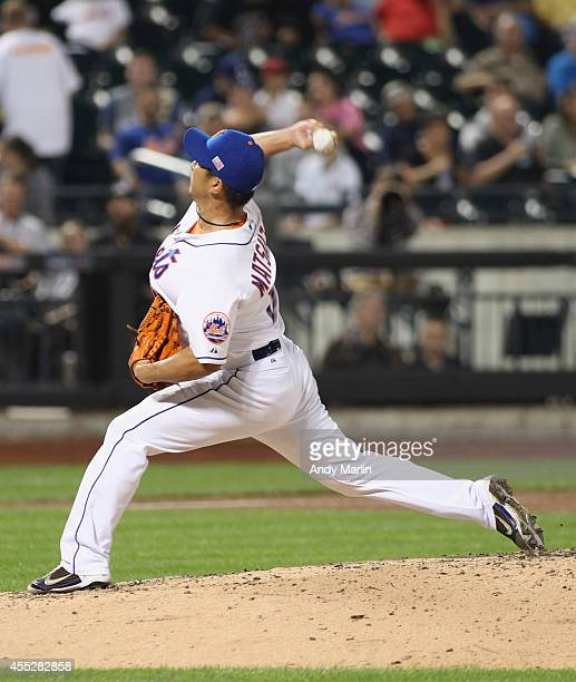 Daisuke Matsuzaka of the New York Mets pitches in the fourth inning against the Washington Nationals during the game at Citi Field on September 11...