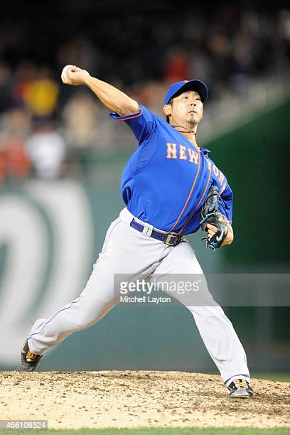 Daisuke Matsuzaka of the New York Mets pitches in the seventh inning during game two of a doubleheader baseball game against the Washington Nationals...