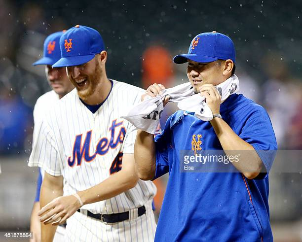 Daisuke Matsuzaka of the New York Mets walks off the field after the game against the Atlanta Braves on July 8 2014 at Citi Field in the Flushing...