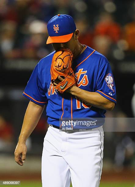 Daisuke Matsuzaka of the New York Mets walks off the field in the fifth inning against the Philadelphia Phillies during their game on May 9 2014 at...