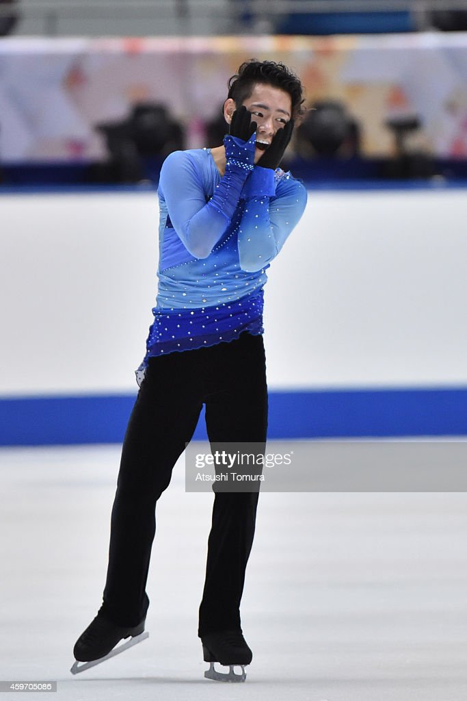 Daisuke Murakami of Japan celebrates after the Men Free Skating during day two of ISU Grand Prix of Figure Skating 2014/2015 NHK Trophy at the Namihaya Dome on November 29, 2014 in Osaka, Japan.