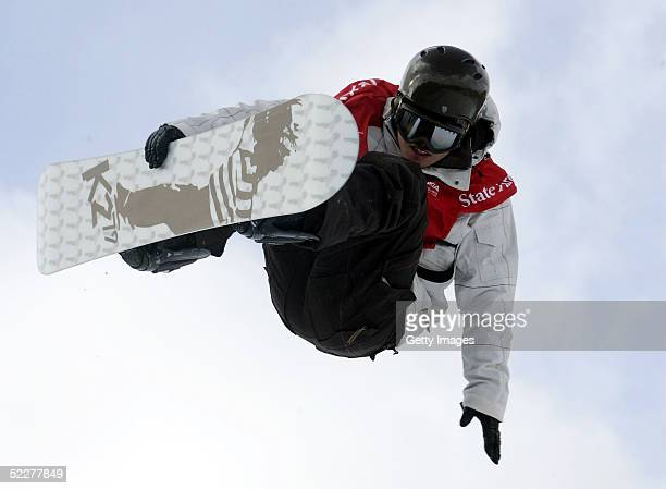 Daisuke Murakami of Japan competes during the Nokia Halfpipe Snowboard FIS World Cup on March 4 2005 at Whiteface Mountain in Lake Placid New York