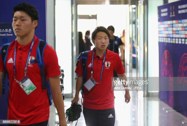 Daisuke Sakai of Japan arrives with team mates prior to the FIFA U20 World Cup Korea Republic 2017 Round of 16 match between Venezuela and Japan at...