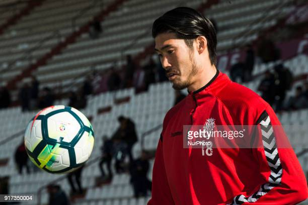 Daisuke Suzuki Japanese player of the Gimnastic of Tarragona warming up before the match against Albacete Balompie at Carlos Belmonte Stadium in...