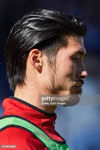 Daisuke Suzuki of Nastic warms up during La Liga 123 match between Albacete Balompie and Nastic at Estadio Carlos Belmonte on February 11 2018 in...