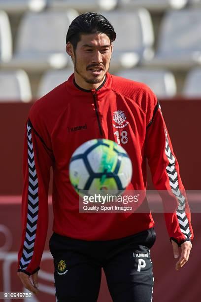 Daisuke Suzuki of Nastic warms up prior to the La Liga 123 match between Albacete Balompie and Nastic at Estadio Carlos Belmonte on February 11 2018...