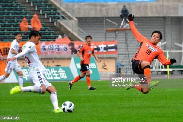 Daisuke Takagi of Renofa Yamaguchi in action during the J.League J2 match between Renofa Yamaguchi and Zweigen Kanazawa at Ishin Me-Life Stadium on...