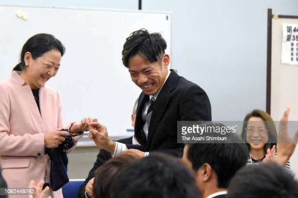 Daisuke Takahashi attends a draw ahead of the Figure Skating Western Japan Championships at Nippon Gaishi Arena on November 1 2018 in Nagoya Aichi...