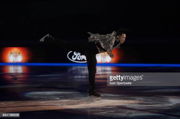 Daisuke Takahashi jumps during the Art on Ice show on February 7 at Malley Arena in Lausanne Switzerland