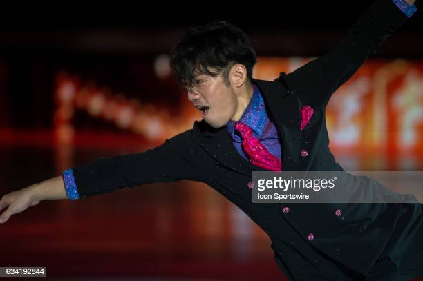 Daisuke Takahashi looks on during the Art on Ice show on February 7 at Malley Arena in Lausanne Switzerland