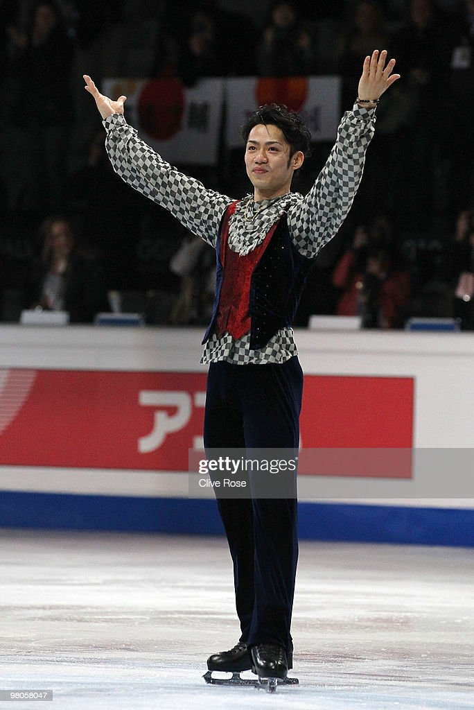 Daisuke Takahashi of Japan celebrates becoming World Champion after the Men's Free Skate during the 2010 ISU World Figure Skating Championships on March 25, 2010 at the Palevela in Turin, Italy.