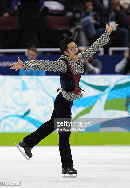 Daisuke Takahashi of Japan competes in the Figure Skating Men's Singles free program during day seven of the Vancouver 2010 Winter Olympics at...