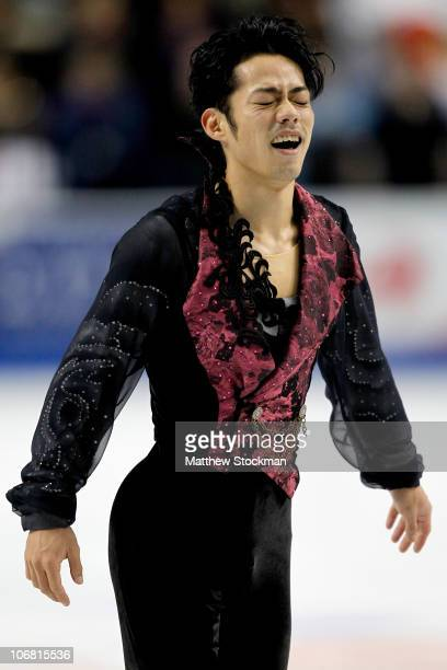 Daisuke Takahashi of Japan completes his routine in the Free Skate during Skate America at Rose Garden Arena on November 13 2010 in Portland Oregon