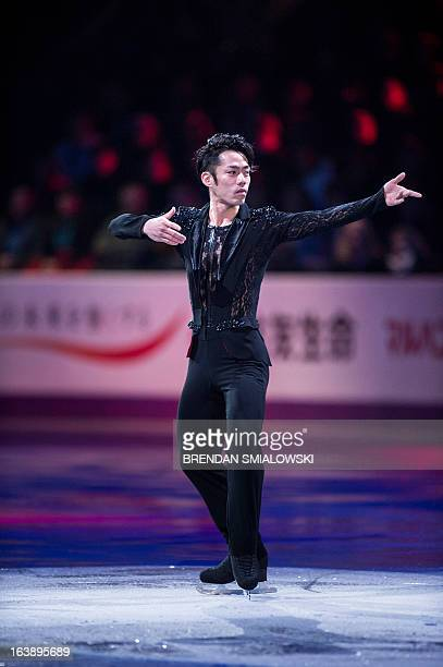 Daisuke Takahashi of Japan performs during the exhibition program at the 2013 World Figure Skating Championships on March 17 2013 in London Ontario...