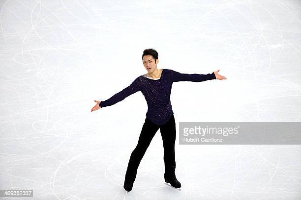 Daisuke Takahashi of Japan performs during the Figure Skating Men's Free Skating on day seven of the Sochi 2014 Winter Olympics at Iceberg Skating...