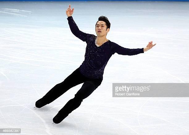 Daisuke Takahashi of Japan performs during the Figure Skating Men's Free Skating on day seven of the Sochi 2014 Winter Olympics at Iceberg Skating...