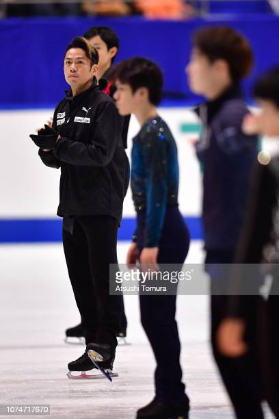 Daisuke Takahashi prepares in the men's free skating on day four of the 87th Japan Figure Skating Championships at Towa Yakuhin RACTAB Dome on...