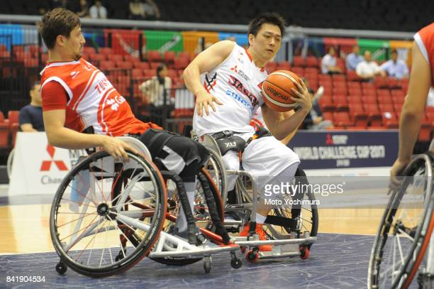 Daisuke Tsuchiko of Japan in action during the Wheelchair Basketball World Challenge Cup match between Japan and Turkey at the Tokyo Metropolitan...
