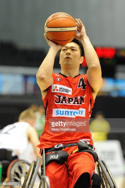 Daisuke Tsuchiko of Japan shoots during the Wheelchair Basketball World Challenge Cup match between Great Britain and Japan at the Tokyo Metropolitan...