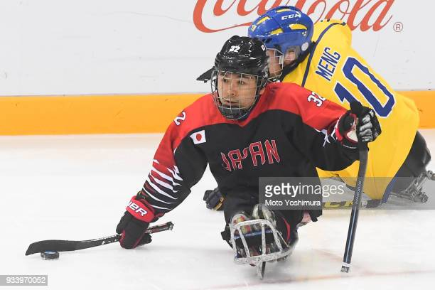 Daisuke Uehara of Japan in actin during the Ice Hockey Classification Game between Japan and Sweden on day seven of the PyeongChang 2018 Paralympic...