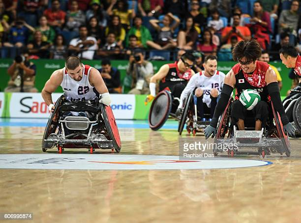 Daisuki Ikezaki of Japan and Kory Puderbaugh of United States compete during Wheelchair Rugby match between United States and Japan on day 9 of the...