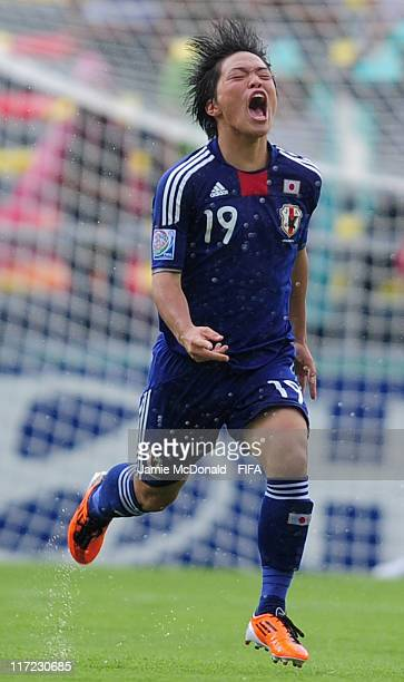 Daisuki Takagi of Japan celebrates his goal during the FIFA U17 World Cup group B match between Japan and Argentina at the Estadio Morelos on June 24...