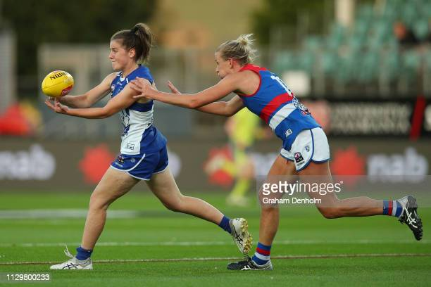 Daisy Bateman of the Kangaroos in action during the round three AFLW match between the North Melbourne Kangaroos and the Western Bulldogs at the...