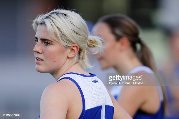 Daisy Bateman of the Kangaroos looks on during the North Melbourne training session at Arden Street Oval on October 12, 2021 in Melbourne, Australia.