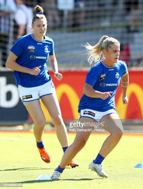 Daisy Bateman of the Kangaroos warms up during the AFLW Finals Series match between the Collingwood Magpies and the North Melbourne Kangaroos at...