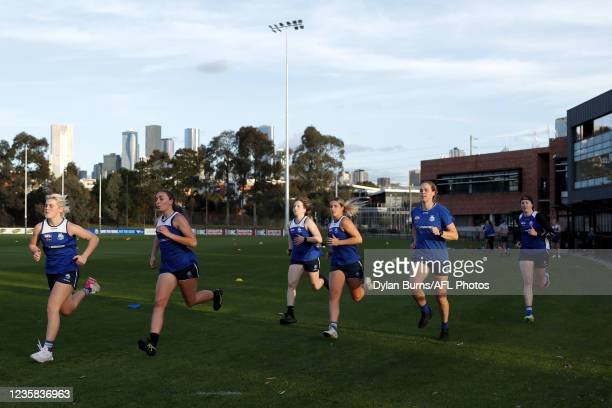 Daisy Bateman, Perri King, Tess Craven, Elisha King, Kim Rennie and Brooke Brown of the Kangaroos in action during the North Melbourne training...
