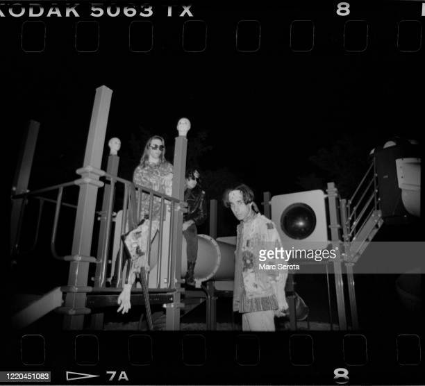 Daisy Berkowitz, Singer Marilyn Manson and Gidget Gein pose for photos on a school playground circa 1990 in Ft. Lauderdale, Florida.