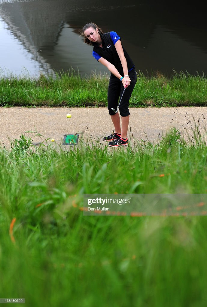 Daisy Brierley of Golf Foundation hits her tee shot on the 4th hole during the UK Cross Golf Open at Queen Elizabeth Olympic Park on May 15, 2015 in London, England.