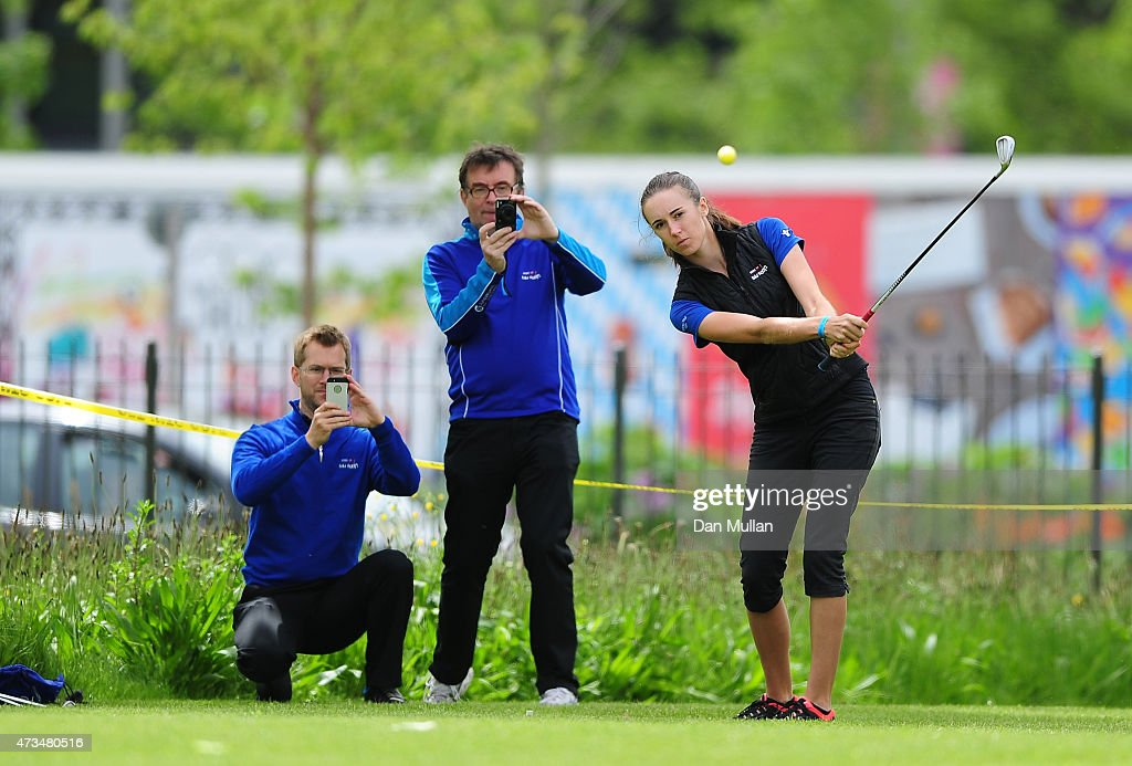 Daisy Brierley of Golf Foundation hits her tee shot on the 9th hole during the UK Cross Golf Open at Queen Elizabeth Olympic Park on May 15, 2015 in London, England.