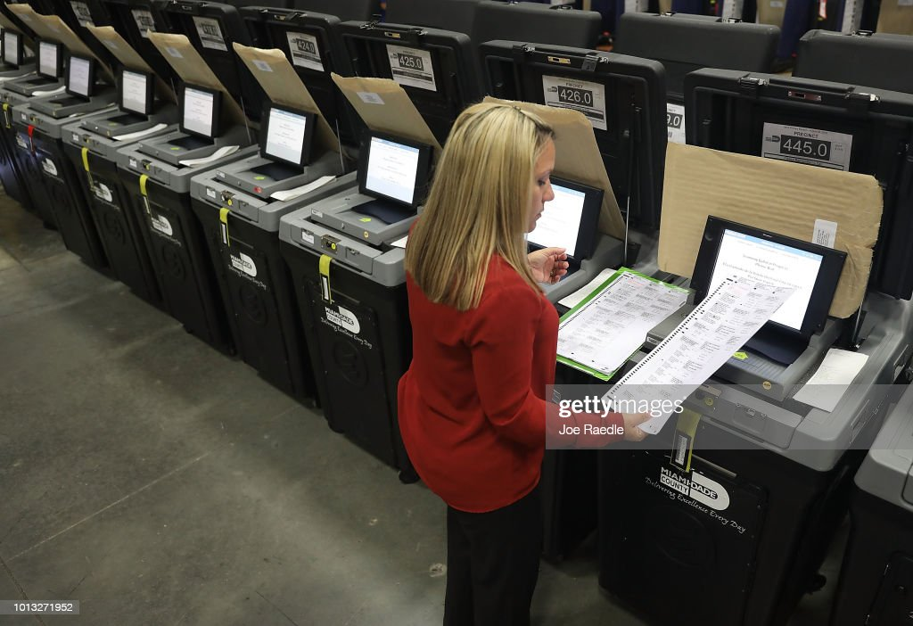 Miami-Dade County Elections Department Exams Voting Equipment Ahead Of Upcoming August 28 Primary : News Photo