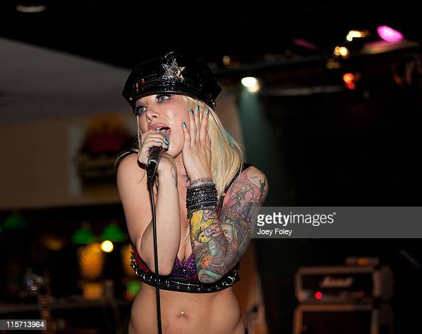 Daisy De La Hoya of Daisy and the Beautiful Disaster performs live onstage at the Rock House Cafe on June 8 2011 in Indianapolis Indiana