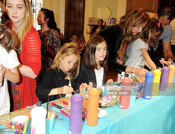 Daisy de Villeneuve Lila Grace Moss Stella Jones Trinny Woodall and daughter Lyla attend the launch of the Liberty Art Fabrics for Hello Kitty...