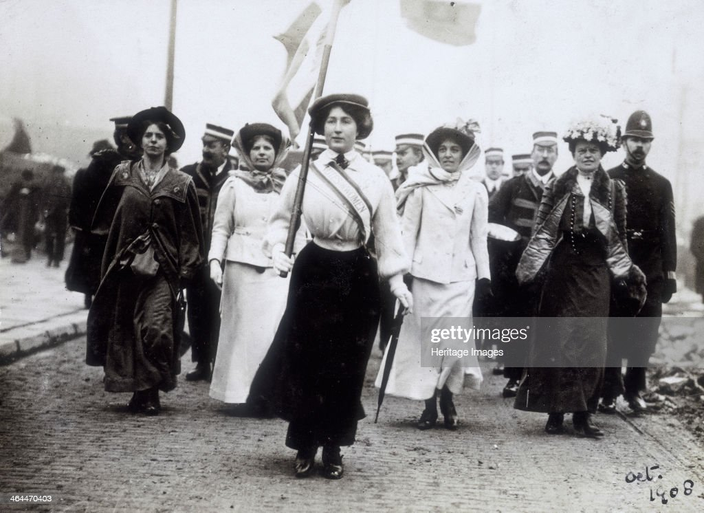 Daisy Dugdale leading a procession, London, 1908. : News Photo