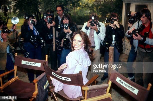 Daisy Duke at a press conference for the last episode of the The Dukes of Hazzard at CBS Studious Los Angeles California September 12 1985