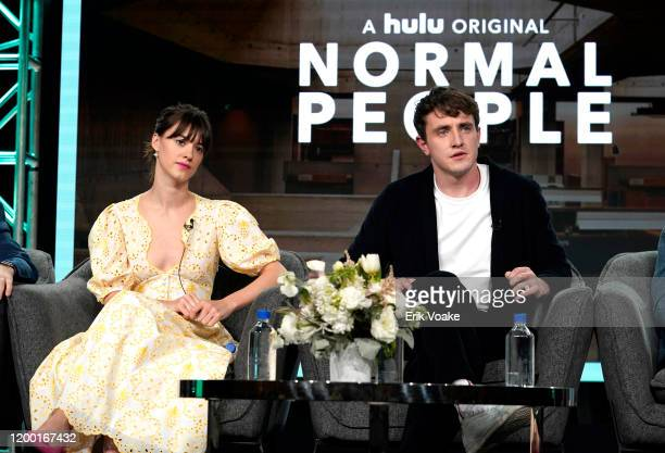 Daisy EdgarJones and Paul Mescal speak onstage during the Hulu Panel at Winter TCA 2020 at The Langham Huntington Pasadena on January 17 2020 in...